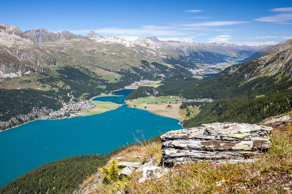 View towards Saint Moritz and the lakes Engadine, Switzerland Europe