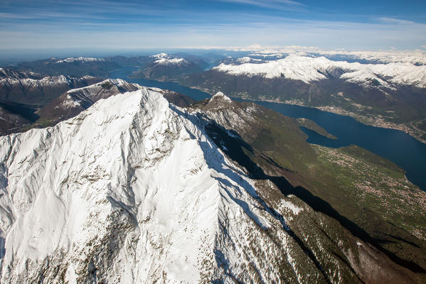 Aerial picture of Mount Legnone with Lario. High Lario, Lombardy, Italy Europe