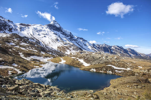 Top view of Lake Campagneda Valmalenco, Valtellina Lombardy Italy Europe Italy