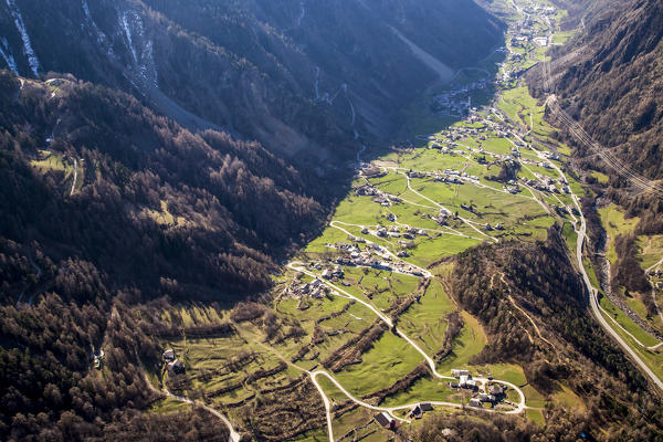 Aerial view of low Poschiavo Valley with its green fields. Poschiavo Valley, Canton of Grisons Switzerland Europe