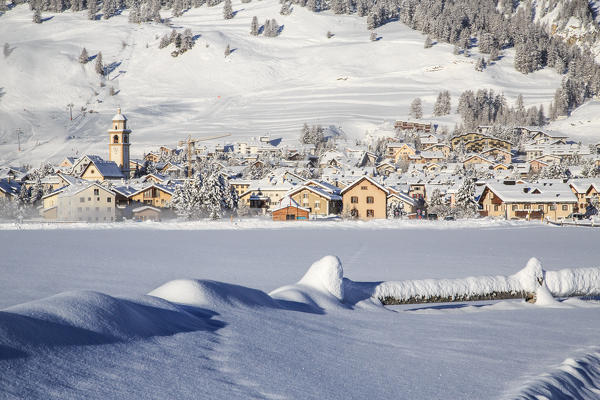 The village of Samedan in winter Engadine, Canton of Grisons Switzerland Europe