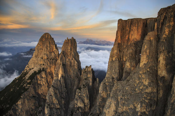 Aerial view of Santner peak at sunset. Sciliar Natural Park. Plateau of Siusi Alp. Dolomites. Trentino Alto Adige. Italy Europe