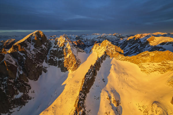 Aerial view of peaks Gemelli and Cengalo at sunset Masino Valley Valtellina Lombardy Italy Europe