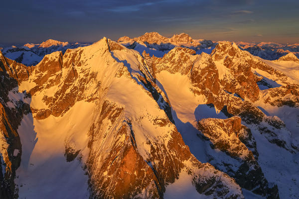 Aerial view of peaks Torrone at sunset Masino Valley Valtellina Lombardy Italy Europe