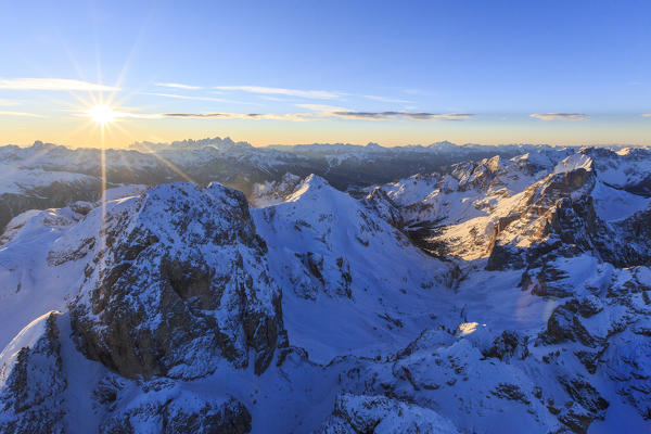 Aerial view of Catinaccio Group at sunset. Sciliar Natural Park Dolomites Trentino Alto Adige Italy Europe