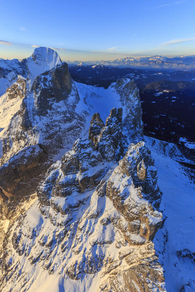 Aerial view of Catinaccio Group and Vajolet Towers at sunset. Sciliar Natural Park Dolomites Trentino Alto Adige Italy Europe