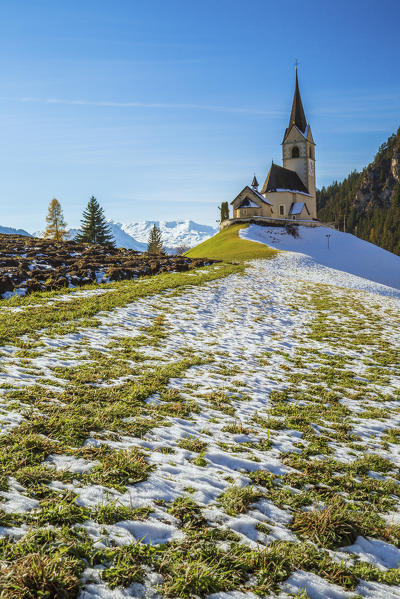 The church of the little village of Schmitten surrounded by snow Albula District Canton of Graubünden Switzerland Europe