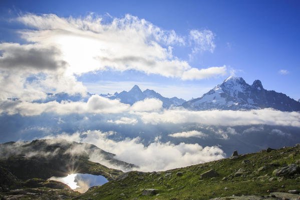 Low clouds and mist around Lac De Cheserys Chamonix Haute Savoie France Europe