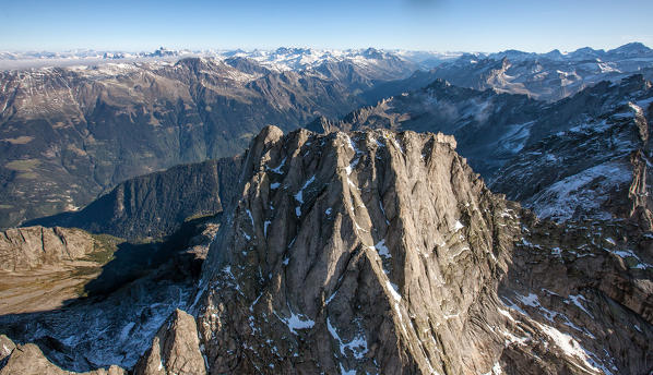 Aerial view of Piz Badile located between Masino and Val Bregaglia borders Italy Switzerland Europe