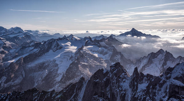 Aerial view of the Sciore mountain range and Mount Disgrazia. Bregaglia Valley and Masino Valley. Border Italy Switzerland Europe