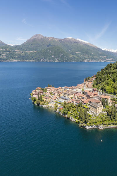 Aerial view of the village of Varenna frames by the blue water of Lake Como Lecco Province Lombardy Italy Europe