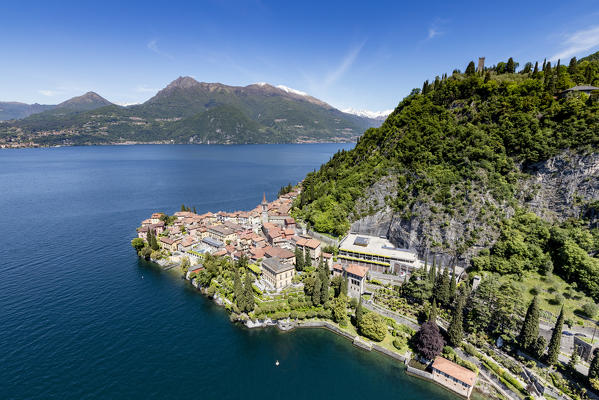 Aerial view of the picturesque village of Varenna overlooking the blue waters of Lake Como Lecco Province Lombardy Italy Europe