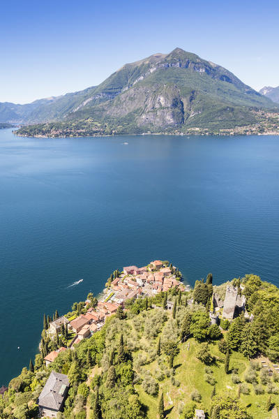 Aerial view of Varenna frames by the blue water of Lake Como on a sunny spring day Lecco Province Lombardy Italy Europe