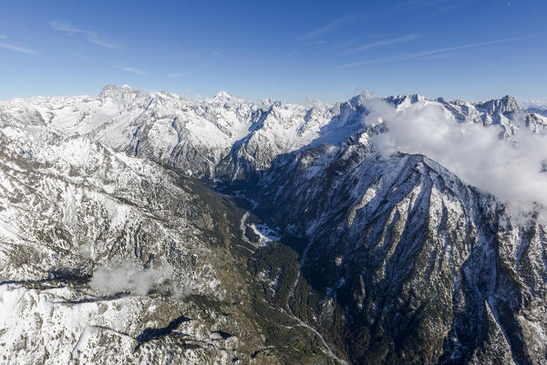 Aerial view of the snowy peaks in a sunny day of autumn  Val Codera  Chiavenna Valley Valtellina Lombardy Italy Europe