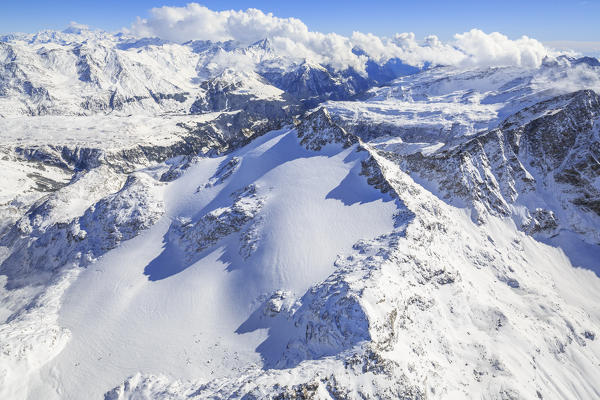 Aerial view of Peak Ferrè  covered with snow Spluga Valley Chiavenna Valtellina Lombardy Italy Europe