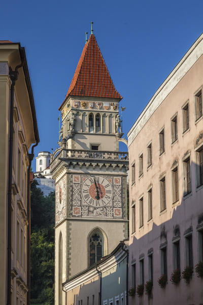 View of the typical bell tower framed by blue sky Passau Lower Bavaria Germany Europe