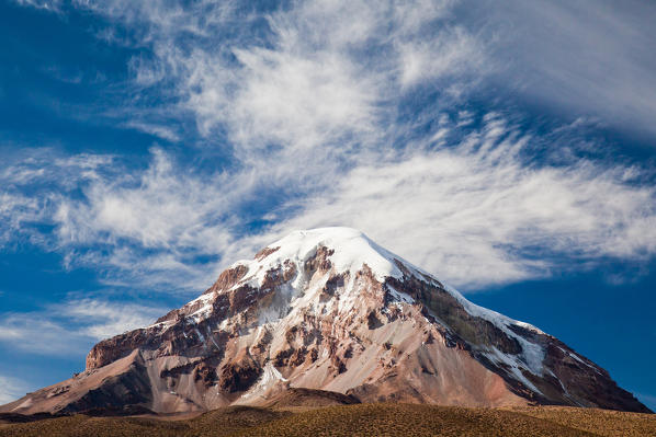 Sajama is Bolivia's highest mountain - an extinct volcano situated in the eponymous Sajama National Park, on Bolivia's South-Western border with Chile. The summit is covered by a permanent ice cap hiding all trace of any volcanic crater Bolivia, South America