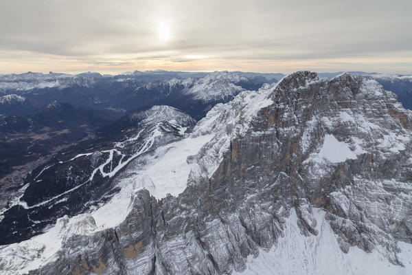 Aerial view of the snowy peaks of Croda Da Lago Dolomites Cortina D'ampezzo Province of Belluno Veneto Italy Europe