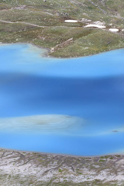 Summer view of the turquoise alpine lake Joriseen Jörifless Pass canton of Graubünden Engadin Switzerland Europe