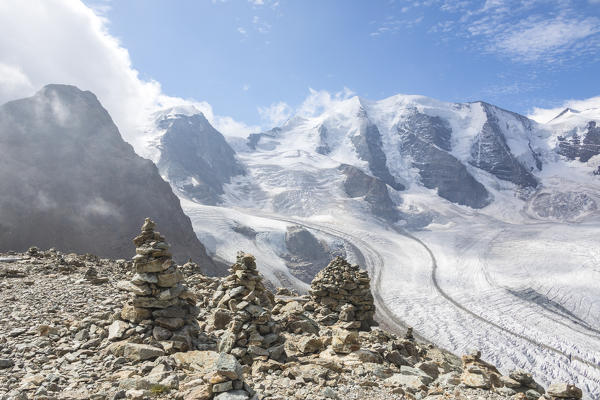 Overview of the Diavolezza and Pers glaciers and Piz Palù, St.Moritz, canton of Graubünden, Engadine, Switzerland