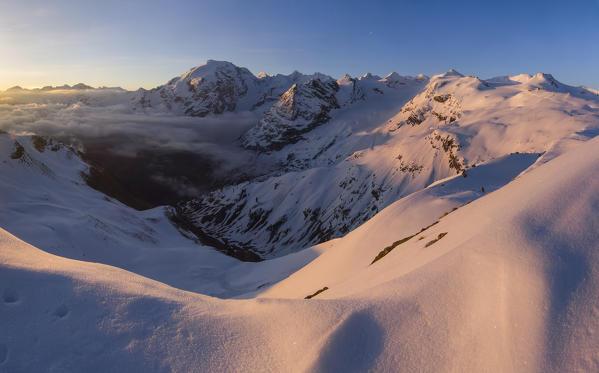 stelvio pass mountains during a sunrise