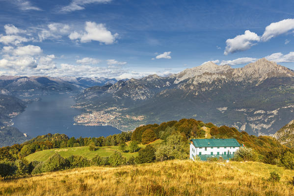 A view of lake Como (ramo di Lecco) and Grigna group from Sev refuge, Corni di Canzo mountains, Valbrona, Como and Lecco province, Lombardy, Italy, Europe