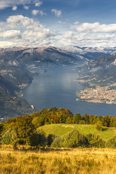 A view of lake Como (ramo di Lecco) from Sev refuge, Corni di Canzo mountains, Valbrona, Como and Lecco province, Lombardy, Italy, Europe