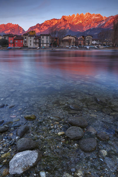 Sunset on Pescarenico, lecco province, Lombardy, Italy, Europe