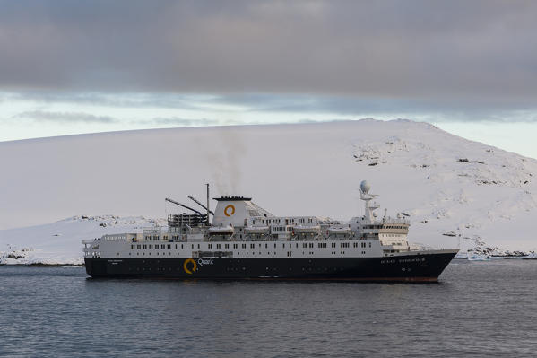 Ocean Endeavour cruise ship in the Lemaire channel, Antarctica.