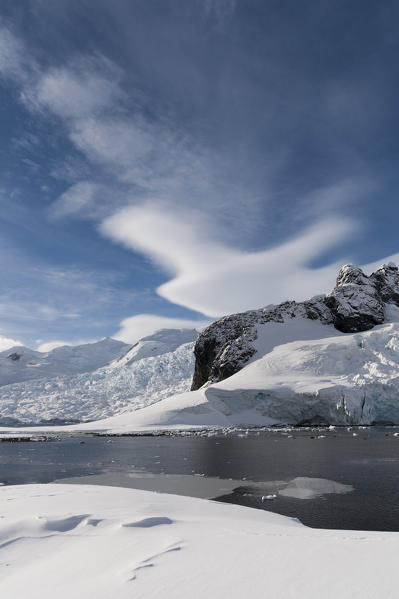A view of the mountains surrounding Paradise Bay, Antarctica.