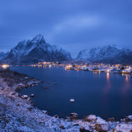 Rorbuer at the Reine fiord in the Lofoten islands, Norway in winter season aftere the sunset