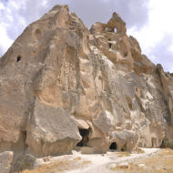 Old typical houses in the Kappadokia region in Turkey. They are created from ten millions of year old in the Pliocene with the last changes in the Holocene. They are create by tuff, sandstones and different rocks.