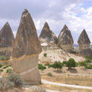 Fairy chimneys in the Kappadokia region in Turkey. They are created from ten millions of year old in the Pliocene with the last changes in the Holocene. They are create by tuff, sandstones and different rocks.