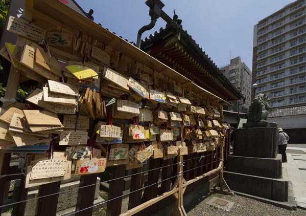 Collection of prayers on wooden tablets of the faithful in the Sensoji Temple. Tokyo, Japan