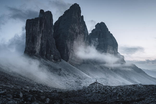 Lavaredo three peaks at evening. Bolzano province, South Tyrol, Italy.