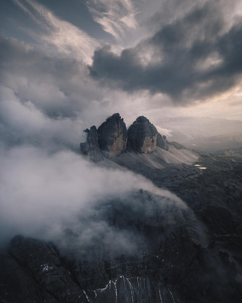 Lavaredo three peaks during a cloudy evening. Aerial view. Bolzano province, South Tyrol, Italy