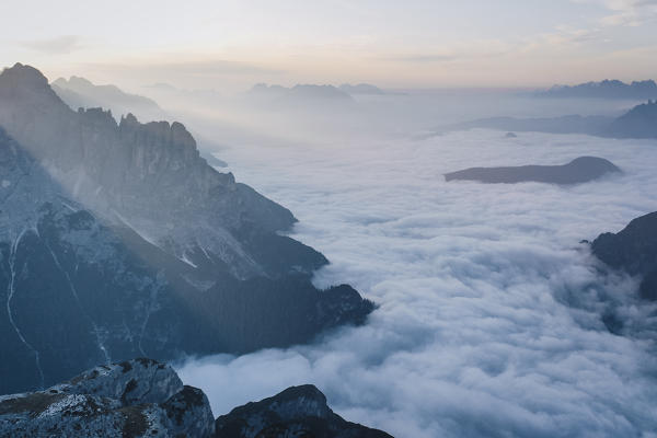 Aurina Valley under the clouds. Belluno province, Veneto, Italy.