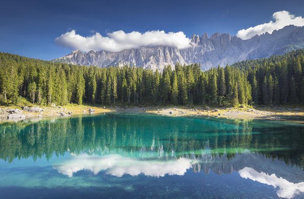 Lake Carezza with Mount Latemar, Bolzano province, South tyrol, Italy