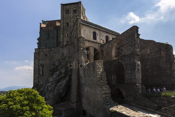 View of the Sacra di San Michele from the ruins of the New Monastery ...