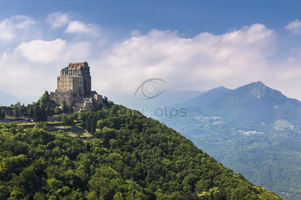 View of the monastery called Sacra di San Michele symbol of Piedmont ...