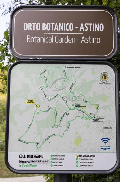 Signboard of the botanical garden Astino province of Bergamo ...