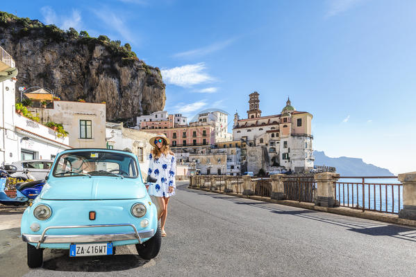 atrani amalfi coast salerno campania italy young woman with her blue fiat 500 mr. Black Bedroom Furniture Sets. Home Design Ideas