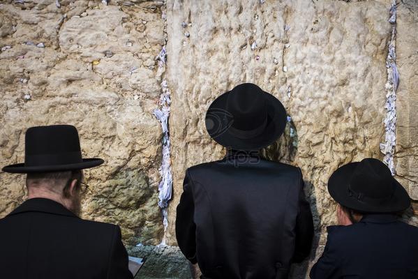 Ultra-orthodox Jewish men praying at the Western wall or